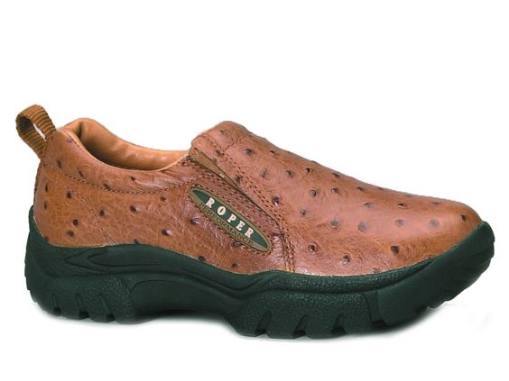 Roper Mens Slipon Classic Slip On Wide Width Shoe Wide Width Tan Faux Ostrich Leather
