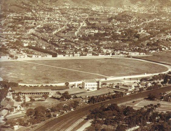 Vista aérea do Derby Club, antigo hipódromo, onde hoje localiza-se o Estádio Mário Filho