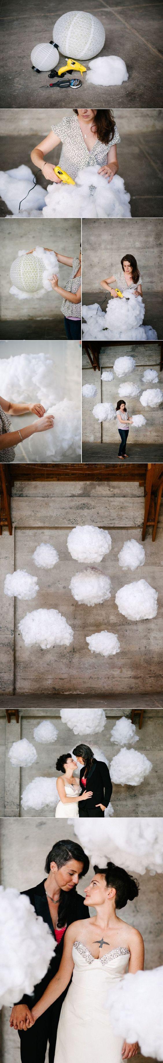 Papierlampe ganz einfach mit Watte beklebt. Perfekt für den Winter.