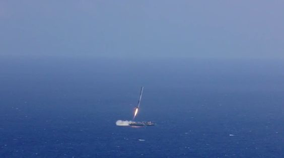 The first stage of SpaceX's Falcon 9 rocket attempts to land on a robotic ship on April 14, 2015, shortly after sending the company's Dragon cargo capsule to orbit.<br />