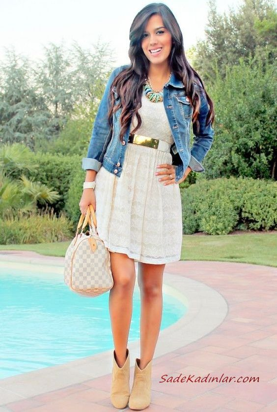 Bayan Kot Ceket Kombinleri Beyaz Kisa Dantel Elbise Mavi Kisa Kot Ceket Krem Nubuk Topuklu Bot Moda Stilleri Dantel Elbise Kot Ceket