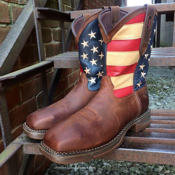 Durango Rebel Men's Brown Leather Steel Toe American Flag Pull-On Work Boot DB020