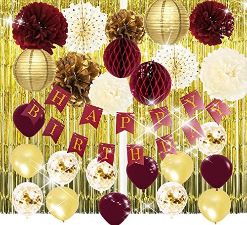 Amazing Offer On Burgundy Gold Birthday Party Decorations Burgundy Gold Happy Birthday Banner Glold Foil Curtain Ballons Polka Dot Fans Burgundy Fall Birthday Party Supplies Women 30th Birthday Decorations Online 30th Birthday