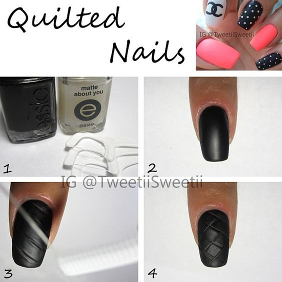 "@tweetiisweetii...1.you need: regular polish, matte top coat and floss picks 2.Paint your base color 2 coats and top coat 1 coat.Wait a couple minutes. Don't wait until it is completely dry or pattern won't show up 3.Using a floss pick press it down tediously to create diagonal lines 4.Do the same thing the other way. You may stop here or using glue to add some glitter for the finish touch.don't putting on another coat of top coat after adding glitter because it will fill in the ""bridges"""