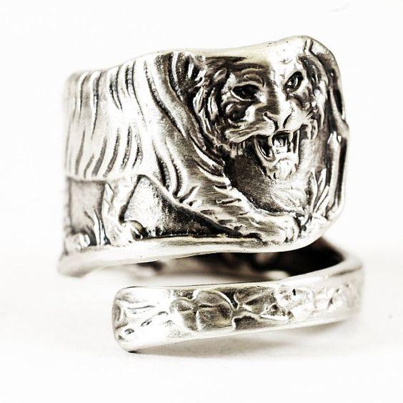 Tiger Spoon Ring Sterling Silver Vintage Jungle Tiger by Spoonier, $69.00