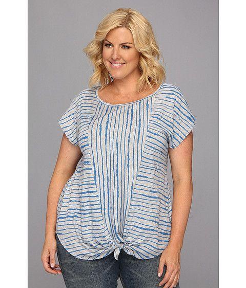 DKNY Jeans Plus Size Hamptons Stripe Tie Front Top