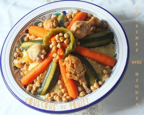 Envie d'un couscous ? je vous propose un couscous algérien traditionnel au poulet de courgettes et carottes sans oublier les pois chiches. Une Recette facile