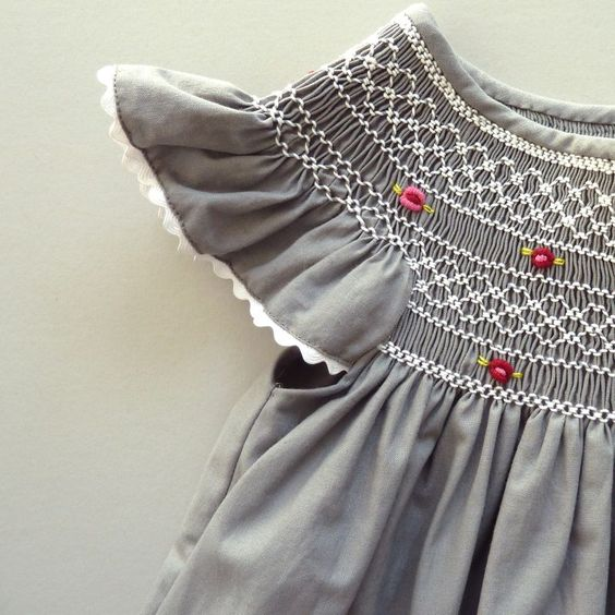 gray and white smocking