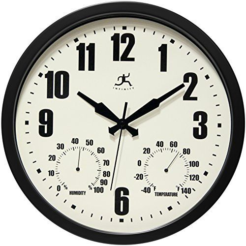 Infinity Instruments Patio Black Outdoor Clock 14 >>> Click on the image for additional details.