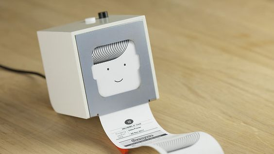 Hello Little Printer, available 2012 by BERG. Little Printer lives in your home, bringing you news, puzzles and gossip from your friends. Use your smartphone to set up subscriptions and Little Printer will gather them together to create a timely, beautiful mini-newspaper.