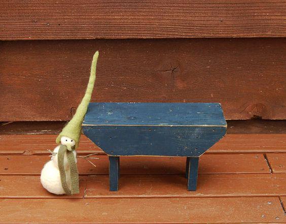 Petit banc en bois, présentoir en bois Vintage, petit banc rustique bleu,