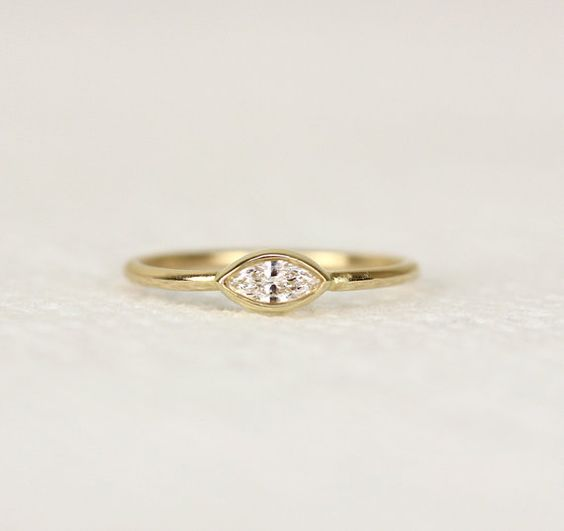 $760 Marquoise Diamond Engagement Ring,Simple And Elegant Diamond Wedding Ring 14k Solid Gold Or 18k Solid Gold