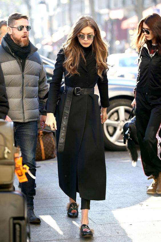 Gigi Hadid in Gucci loafers | British Fashion Council's Fashion Awards 2016