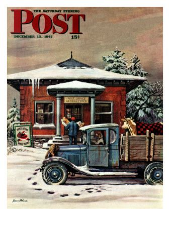 """Rural Post Office at Christmas,"" Saturday Evening Post Cover, December 13, 1947 Impressão giclée por Stevan Dohanos na AllPosters.com.br"