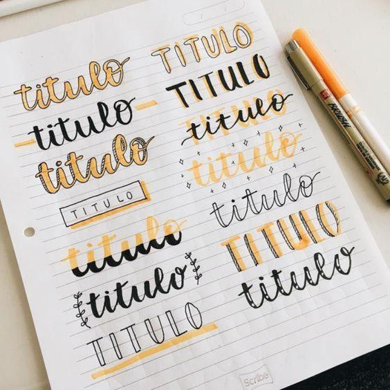 Títulos lettering para fazer no caderno com marca texto