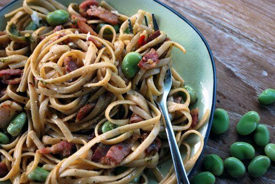 Pasta Tagliolini: Broad bean, bacon & chilli via Spatula.co.za ...