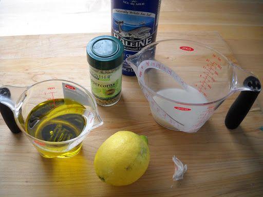 Gather the ingredients together. I used rice milk, lemon juice, white pepper, garlic, Extra Virgin olive oil, canola oil, and sea salt.