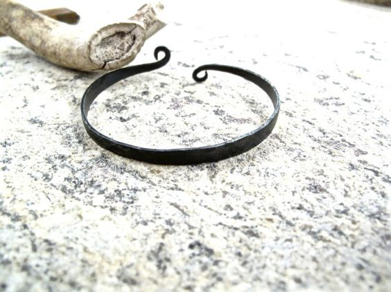 Steel Celtic Bracelet - iron anniversary, Christmas present - blacksmith forged iron, steel, metal viking style jewelry.