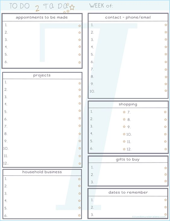 i lived on wisteria lane  free printable - weekly planner