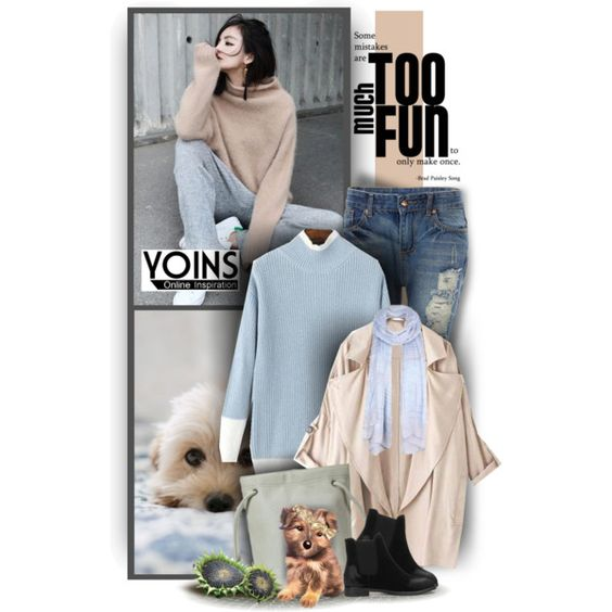 Patch-color Chunky Knit Sweater - Contest by Yoins by christiana40 on Polyvore featuring Mode and vintage