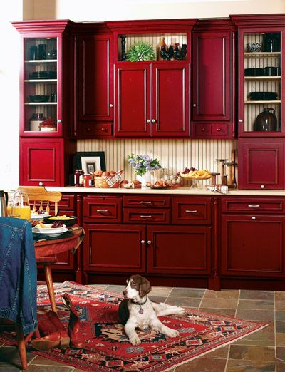 LOVE these red cabinets - definitely for a small section or island at least.