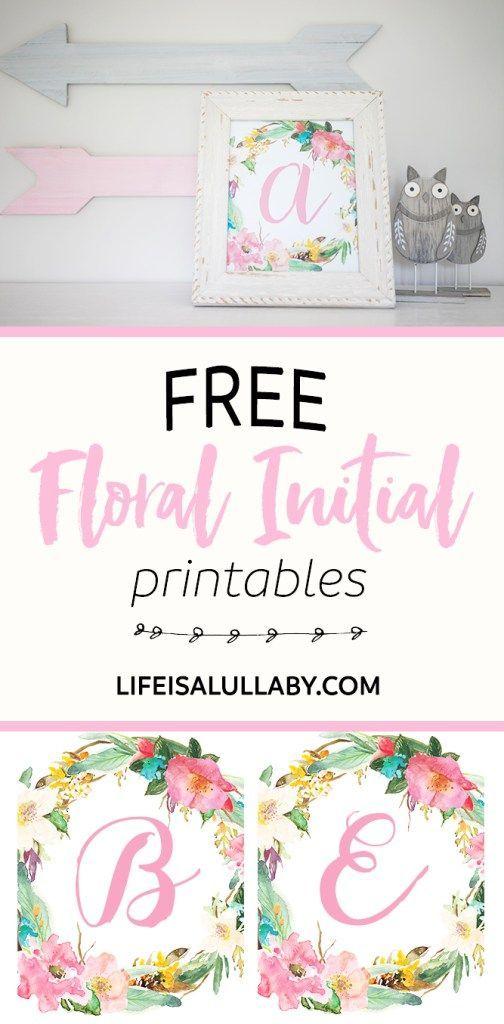 Free Initial Nursery Printable Girl Nursery Floral Baby Shower