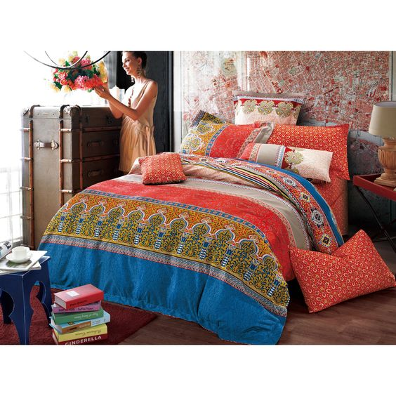 Features a geometric and floral pattern in color red and multi colors made in 100-percent cotton with 300 thread count. 3-piece duvet cover set includes duvet, and 2 shams.