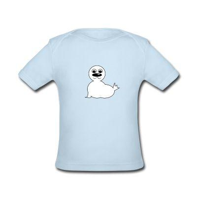 Bio-Kurzarm-Shirt für Babies mit einer freundlichen kleinen Robbe / Heuler.