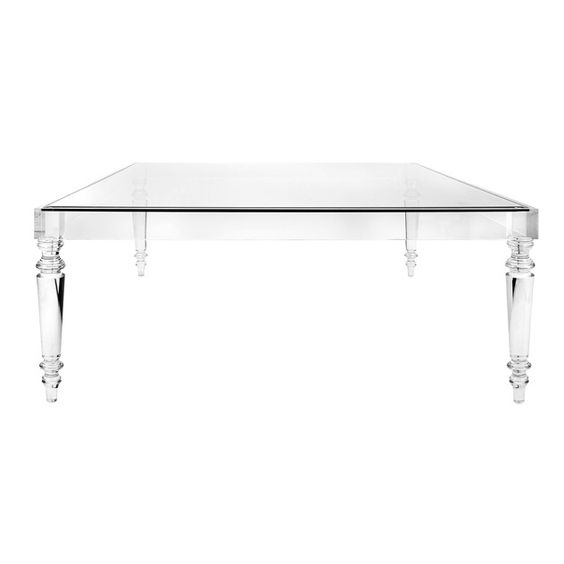 Lucite & Glass Oversized Square Coffee Table - HEATHERTIQUE