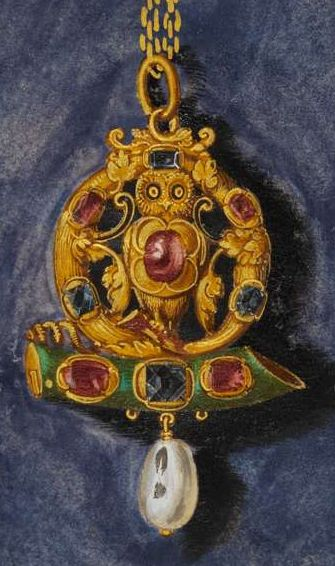 Oil on canvas by Hans Mielich depicting one of the jewels in the possession of Duchess Anna von Bayern. Painted in between 1552-1555.: