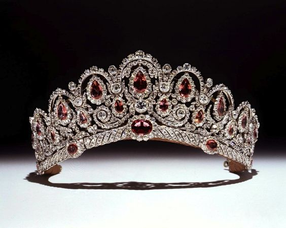 Princess Ekatarina Bagration's Antique Tiara, Russia (circa 1810; probably made by J.B. Fossin; pink spinels, diamonds, gold). Purchased in 1977 by the Duke of Westminster for his fiance.