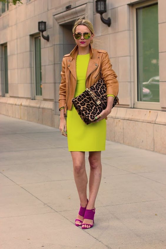 valentino. 3k.  neon dress, leather jacket, violet strappy sandals