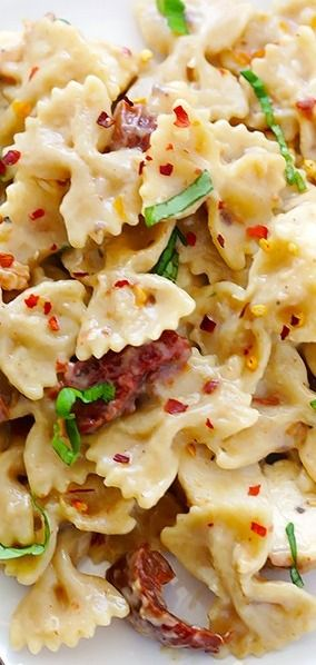 Creamy Pasta with Chicken and Sun-Dried Tomatoes - Gimme Some Oven