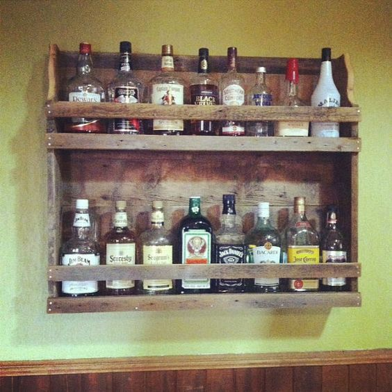 Rustic reclaimed wood liquor and wine rack reclaiming for Wine bottle shelf diy