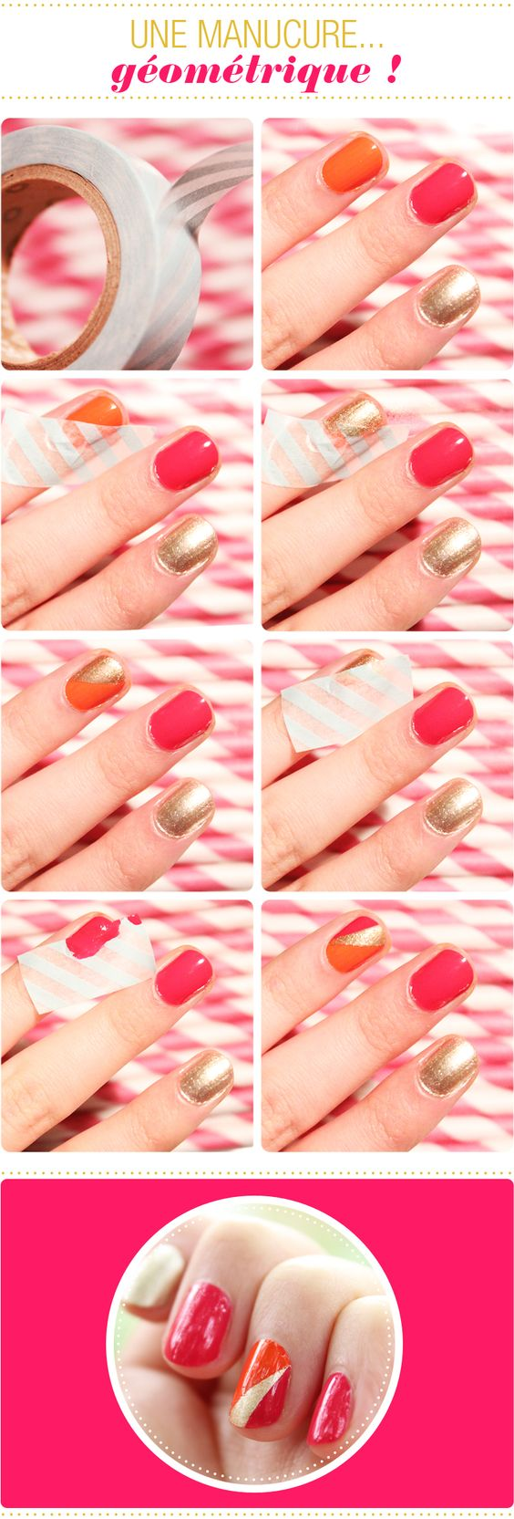 Tuto manucure g om trique au scotch vernis ongles nails pinterest awesome chang 39 e 3 - Tuto french manucure ...