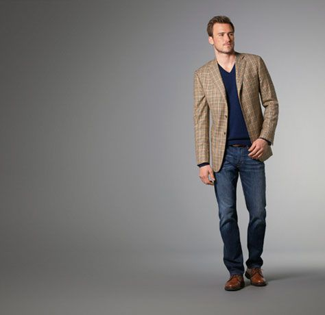 Sport Jacket paired with lightweight v-neck sweater and AG jeans ...