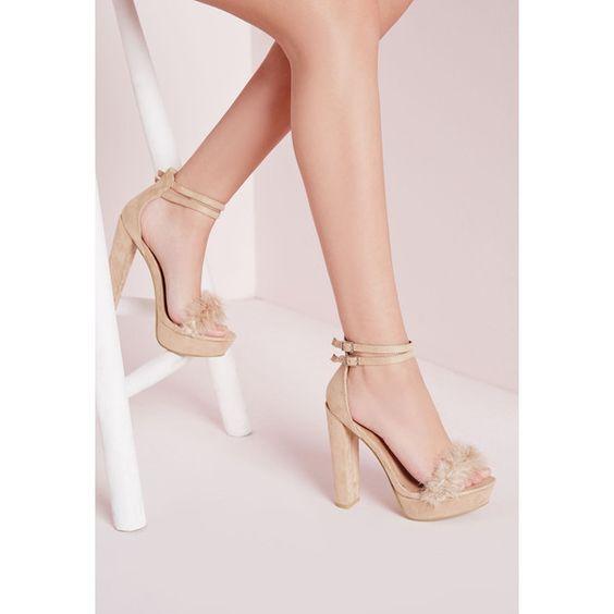 Missguided Fur Trim 70&39s Platform Sandals ($60) ❤ liked on