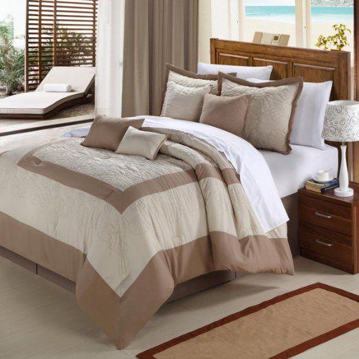 Amazon.com - Chic Home Seashell 8-Piece Comforter Set, Queen, Taupe - Chic Home Seashell Comforter Set