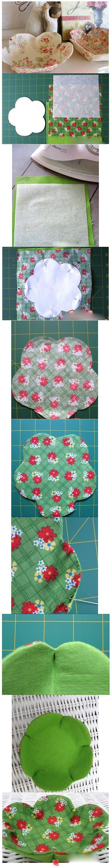 Pretty fabric bowls - for trinkets or gift to friends. Idea - Make patchwork bowls - a good way to use up fabric scraps! :)