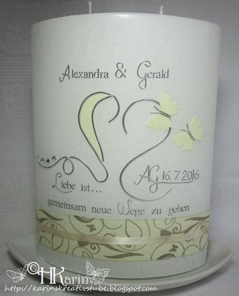 "Karins Kreativstube: Hochzeitskerze ""Alexandra & Gerald"" creme"