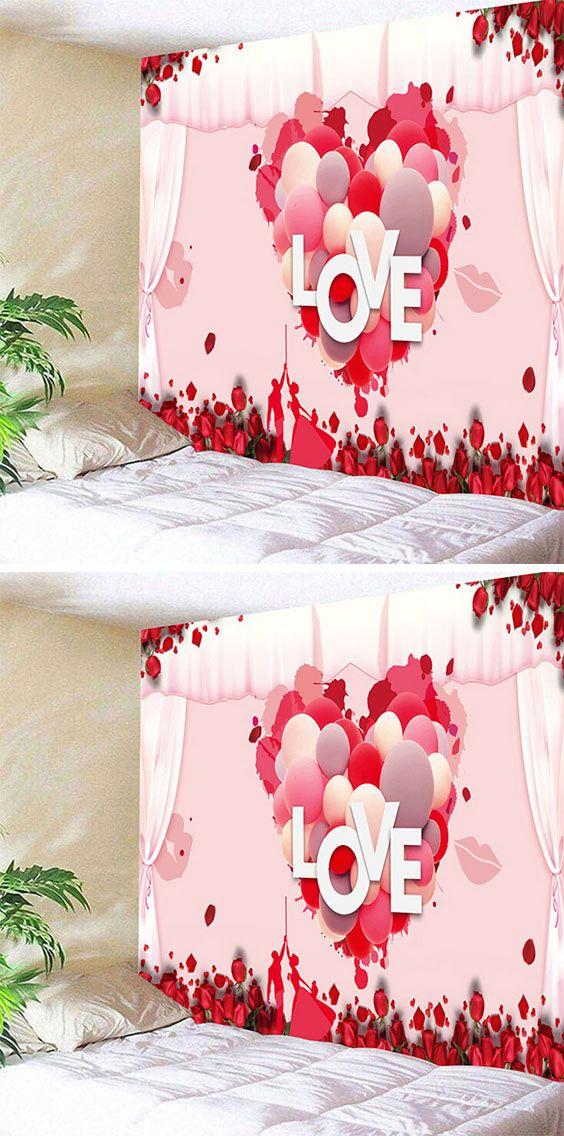 Valentine S Day Love Heart Pattern Wall Art Tapestry Valentines Day Decorations Valentine Decorations Valentine Day Love