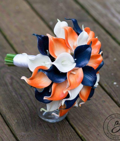 Burnt Orange And Navy Wedding Bouquet Calla Bouquet Calla Lily
