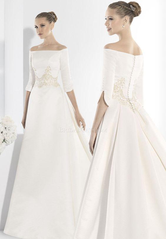 3/4 Manu Alvarez 13 Floor Length Long Short train Wedding Dress
