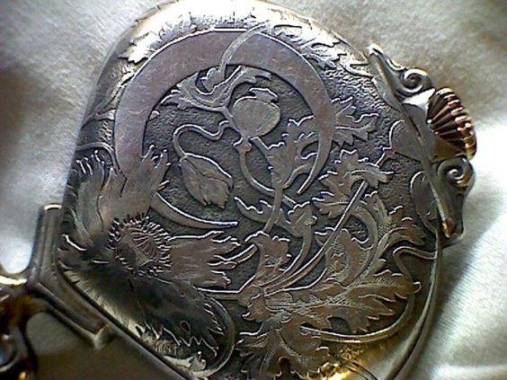 La lune et des feuilles d'automne Sector Watch  Art Nouveau Retrograde Record & Co Silver Pocket Watch, Tramelan, Swiss