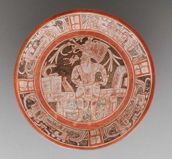Plate with rattle feet, Maya Late Classic Period, A.D. 650–750 Department of El Petén, Guatemala, Yaxhá-Holmul-Xultún area Museum of Fine Arts, Boston