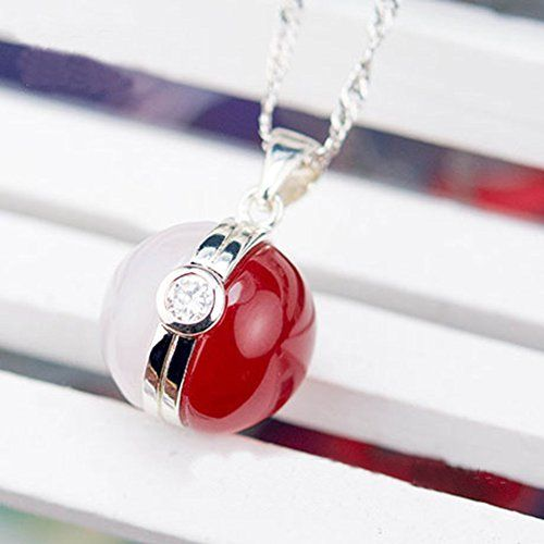 925 Sterling Silver and Natural Agate Gem Pokemon Ball Necklace: