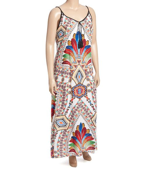 Look at this White & Orange Geo Feather Tassel Maxi Dress - Plus on #zulily today!
