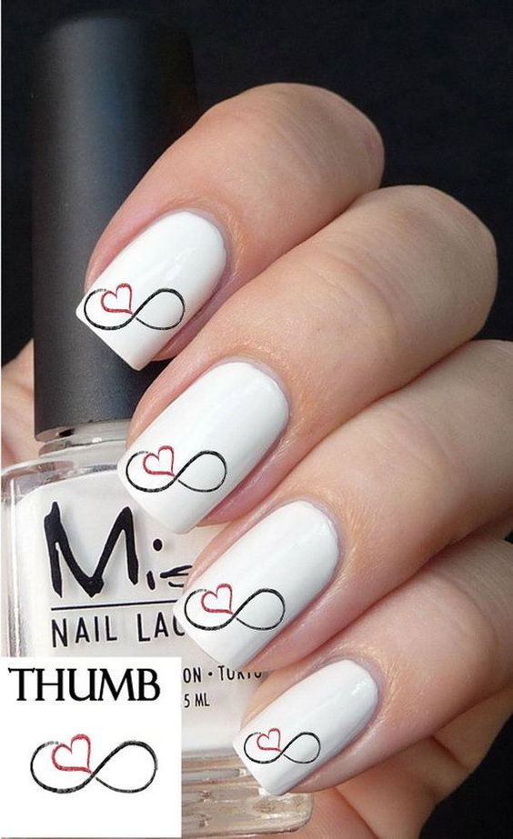 The infinity symbol (sometimes called the lemniscate) is a mathematical symbol representing the concept of infinity. It could signify anything that goes on forever, without limit or eternal. Infinity with symbol of heart or love font is often used to represent love forever. http://hative.com/infinity-nail-designs/