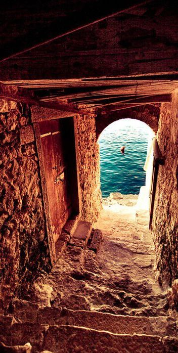 Passageway to the sea on the Isle of Crete, Greece • Note: a comment on Murray's webpage has this passageway in Rovinj, Croatia: