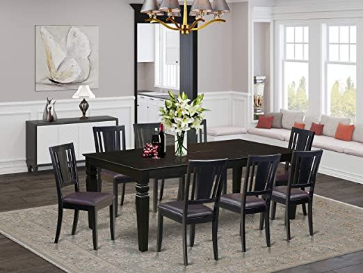 9 Pc Dinette Set With A Dining Table And 8 Leather Dining Chairs In Black Dinette Sets Faux Leather Dining Chairs Leather Dining Chairs